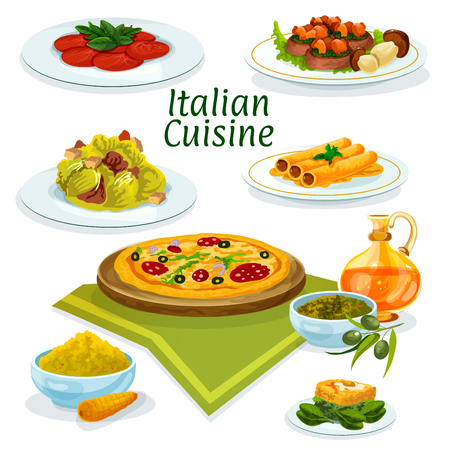 stuffed fish: Italian cuisine pepperoni pizza cartoon icon served with beef carpaccio, lettuce salad caesar, pasta stuffed fish, corn polenta, basil and olive sauce pesto, beef with porcini and spinach omelette Illustration