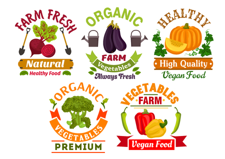 Healthy organic vegetables badges set of fresh farm bell pepper, broccoli, eggplant, pumpkin and beet vegetables with leaves, ribbon banners, shovels, watering can