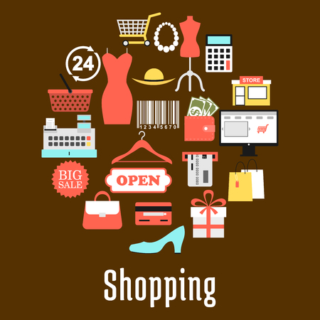 bank cart: Shopping and retail commerce round badge made up of sale tag, shopping basket and cart,gift box, paper bag, money, credit bank card, wallet, calculator, store, e-commerce, barcode, clothing