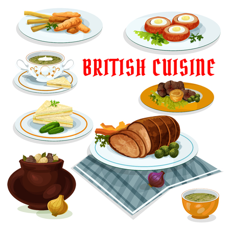 british cuisine: British cuisine cartoon icon with fish and fries, vegetable irish stew, roast beef with yorkshire pudding, baked beef, cucumber sandwiches, watercress cream soup, baked scotch eggs, sorrel soup Illustration