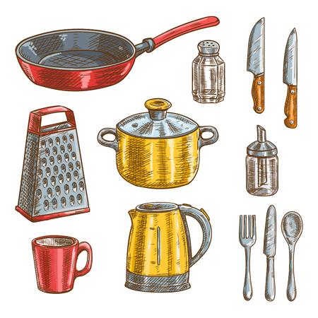 Keuken en kookgerei schetsen van mes, lepel, vork, pot, koekenpan, beker, rasp, waterkoker, glas zout shaker en suiker dispenser