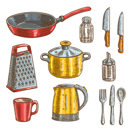 cooking utensils: Kitchen and cooking utensils sketches of knife, spoon, fork, pot, frying pan, cup, grater, electric kettle, glass salt shaker and sugar dispenser