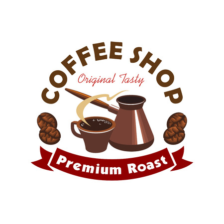 brewed: Coffee shop or cafe symbol with cup of fresh brewed coffee and vintage cezve, encircled by coffee beans and ribbon banner with text Premium Roast