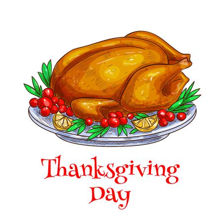 garnished: Thanksgiving roasted turkey. Traditional celebration dinner meal of turkey dish on plate garnished with vegetables. Vector design element for thanksgiving dinner greeting card, invitation banner, poster