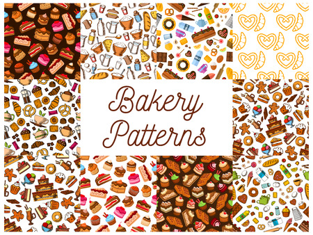 cheesecake: Bakery and pastry desserts seamless patterns set with chocolate and fruit cake, cupcake, croissant, donut, muffin, berry pie, cookie, candy, cheesecake and waffle, gingerbread and pretzel