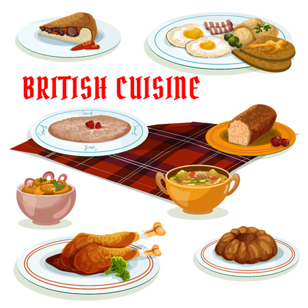 british cuisine: British cuisine breakfast menu icon with fried egg, bacon and toast, gingerbread cake, pudding, oatmeal porridge, beef kidney pie, turkey leg in berry sauce, potato salad and lamb soup