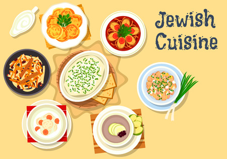 cheese bread: Jewish cuisine kosher dishes icon with jellied pike fish, herring forshmak, fish ball soup, egg salad with chicken giblets, fish cutlet with cheese, bread apple soup, carrot dessert with raisins Illustration