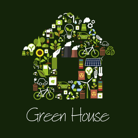 Eco green house symbol composed of saving energy light bulb, recycling sign, plant, tree, solar panel, wind turbine, electric car, biofuel, bicycle, battery, industrial plant pollution