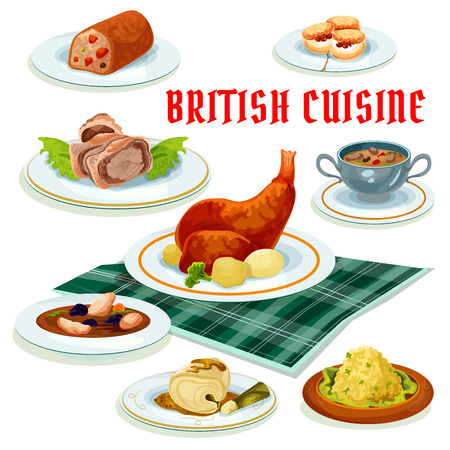 british cuisine: British cuisine menu cartoon icon with beef wellington in pastry, scones, fruit cake, baked rabbit, cod in mustard sauce, scottish chicken soup with prunes, fish pate and beef kidney soup