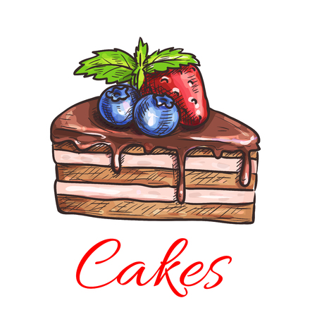 Chocolate cake sketch with vanilla cream and chocolate glaze, topped with fresh mint leaves, strawberry and blueberry fruits. Cake shop, pastry and bakery design
