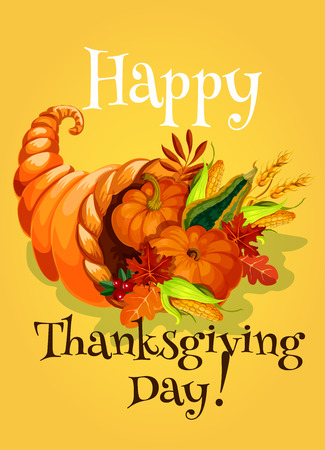 abundance: Thanksgiving Day cornucopia greeting card. Traditional design of meal, fruit and vegetable harvest abundance from horn of plenty. Classic family celebration design for greeting and invitation card