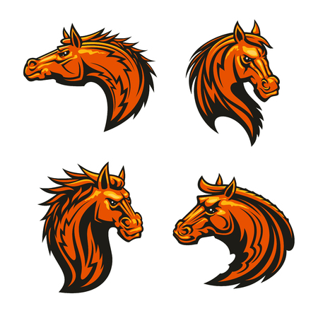 Wild horse and angry stallion mascots with head of brown horse with alert ears and fiery mane, adorned by tribal flame ornaments Illustration
