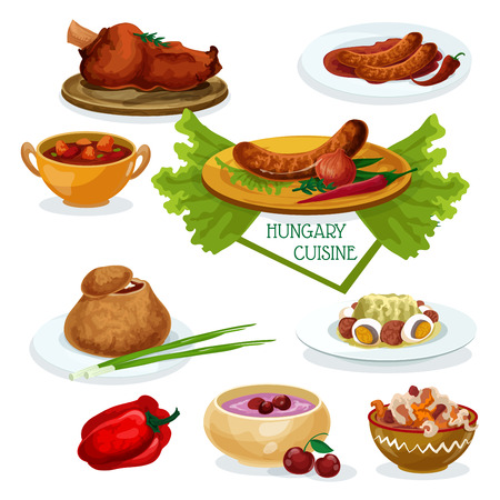 Hungarian cuisine menu cartoon icon with beef goulash, smoked meat, chilly sausage, meat and bell pepper stew, onion soup in rye bread bowl, cabbage salad with eggs and salami, cherry soup