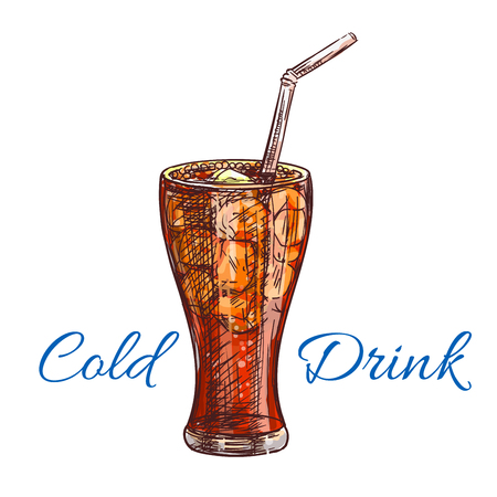 Cold soda drink with ice sketch of soft beverage, served in tall glass with drinking straw. Fast food cafe, soft drinks, cocktail menu design