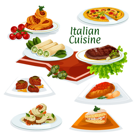 pasta sauce: Italian cuisine seafood pizza cartoon icon with pasta and spaghetti with shrimps and bacon, florentine beef steak, chicken with tomato sauce, pasta stuffed feta, fruit cake, beef chop