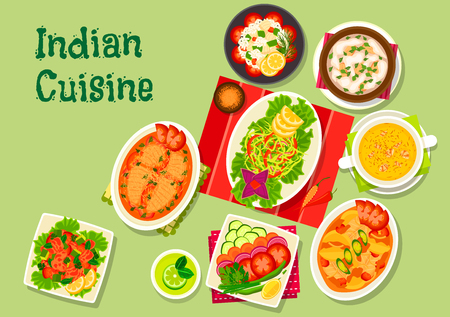 Indian cuisine lunch dishes icon with fish salad, spicy chicken salad, shrimp soup with saffron, cabbage salad, chicken almond soup, salmon stew, fresh vegetable salad, perch with potato