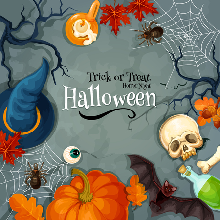 Halloween Trick or Treat Horror Night greeting card. Traditional halloween holiday invitation banner with vector symbols of orange pumpkin, witch hat, skull, zombie eye, spider web, black bat, candle on grunge scary evil background. Halloween poster, plac