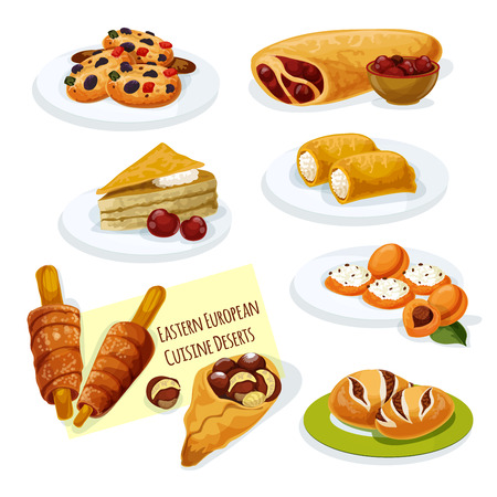 european cuisine: Eastern european cuisine desserts cartoon icon with cherry strudel, caramel cake, pancake stuffed cottage cheese, poppy seeds bun, cookie with nuts, apricot topped with cheese, spit cake, chestnut Illustration