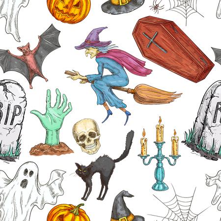 Halloween-Muster Von Doodle Skizze Symbole Und Zeichen Für Halloween ...