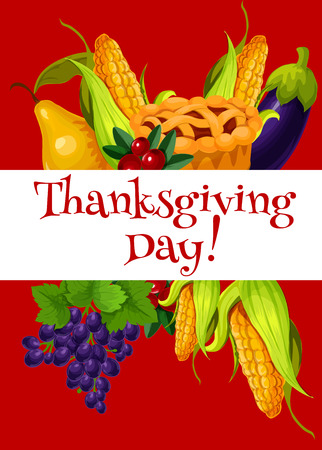abundance: Thanksgiving Day meal abundance greeting banner. Vector elements of vegetable and fruit harvest, traditional thanksgiving sweet pie on orange color background with greeting text