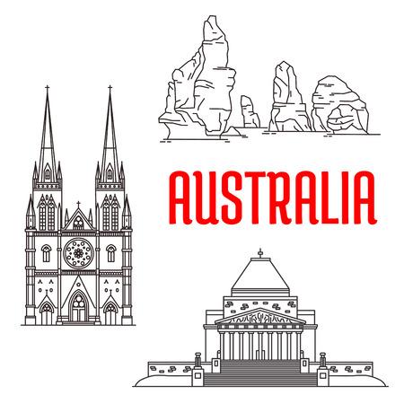 細い線ゴシック聖メアリー大聖堂の 12 使徒のポート ・ キャンベル国立公園と戦争記念館とオーストラリア アイコンのランドマークを旅行します。  イラスト・ベクター素材