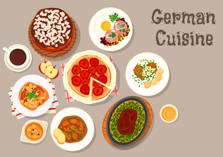 served: German cuisine sausage soup icon served with pork schnitzel, beef steak with omelette, stewed pork chops, corned beef hash with fried egg and herring, plum pie, layered cake with chocolate cream Illustration