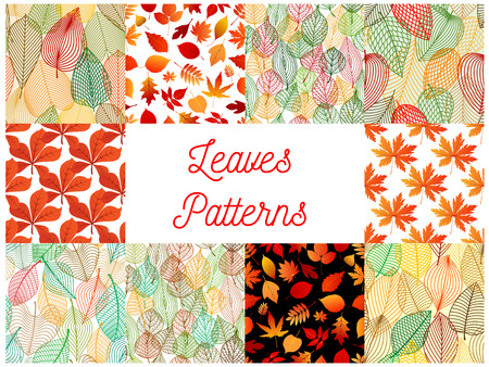 oak trees: Autumn fallen leaves seamless patterns set with orange and red autumnal foliage of maple, oak, chestnut, birch and rowanberry trees