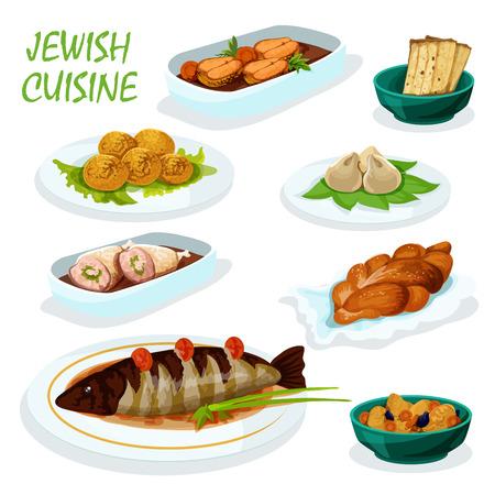 carne de pollo: cocina judía icono del menú de la cena festiva con matzá, falafel garbanzo, gefilte pescado del lucio, pollo relleno, jalá pan dulce, bola de masa de carne y estofado de cordero con frutos secos Vectores