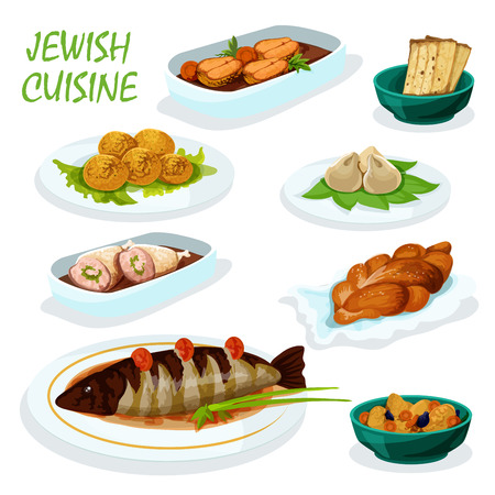 matzah: Jewish cuisine festive dinner menu icon with matzah, chickpea falafel, gefilte pike fish, stuffed chicken, sweet bread challah, meat dumpling and lamb stew with dried fruit