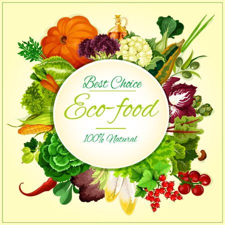 salad: Eco food badge, organic vegetables and fruits symbol with tomato, chilli pepper, carrot, olive, lettuce, onion, corn, cabbage and salad greens, currant and gooseberry. Agriculture theme