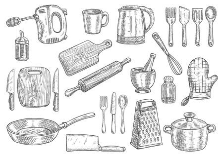 Keukengerei en apparatuur geïsoleerd schetsen. Koken pot, mes, vork, pan, lepel, beker, spatel, een waterkoker en een handmixer, snijplank en zwaaien, deegrol en rasp