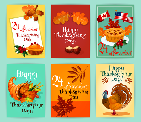 horn of plenty: Thanksgiving Day greeting cards set. Design of thanksgiving emblems, flyers, stickers with elements of traditional turkey, pie with canada and america flags, autumn harvest cornucopia plenty horn, autumn maple and oak leaves
