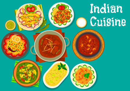 curry: Indian cuisine lamb curry icon served with lemon rice, frying chili pepper, potato spinach stew, lamb meatball, rice with pork, mushroom stew and yogurt dessert