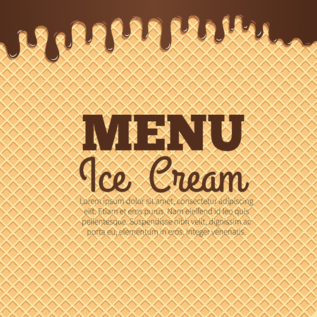 Chocolate ice cream flowing over waffle texture background with text layout in the center. Cafe menu, ice cream dessert poster, food packaging design