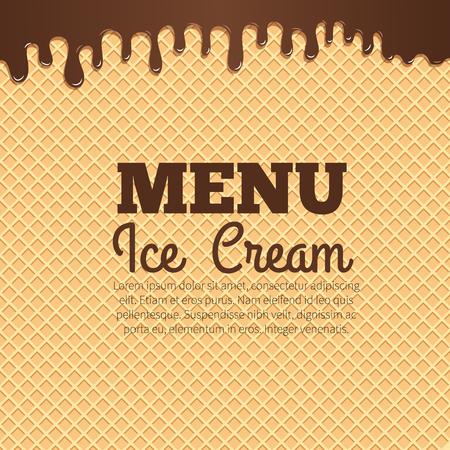 Glace au chocolat qui coule sur le fond de la texture de la gaufre avec la disposition du texte au centre. Menu du café, poster dessert aux glaces, conception des emballages alimentaires Banque d'images - 64252878