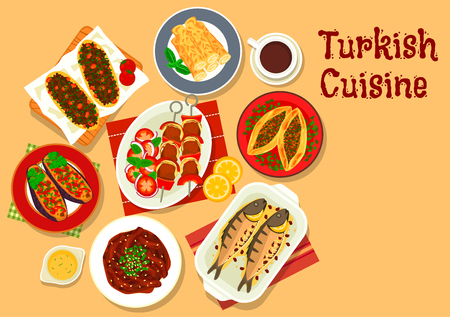 Turkish cuisine shish kebab skewer icon with stuffed eggplant, meat pie pide, pastry with cheese, beef stew, stuffed mackerel, lamb pie and coffee Illustration