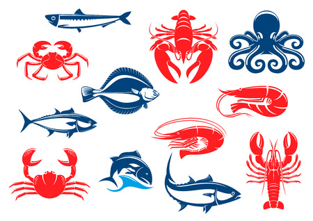 crustacean: Seafood icon set with fish and crustacean. Crab, shrimp, salmon, lobster, octopus, tuna, prawn, flounder, crayfish, anchovy isolated icons for seafood menu and fishing sport design