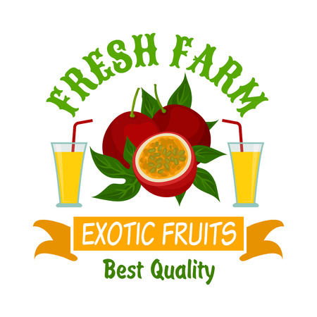 adorned: Exotic fruits isolated badge. Sweet passion fruits with leaves and glasses of tropical juice, adorned by ribbon banner and header Fresh Farm. Food packaging and farm market design Illustration