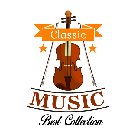 classic art: Classic music isolated icon of violin with bows, framed by ribbon banner and stars. Musical concert, festival, art themes design Illustration
