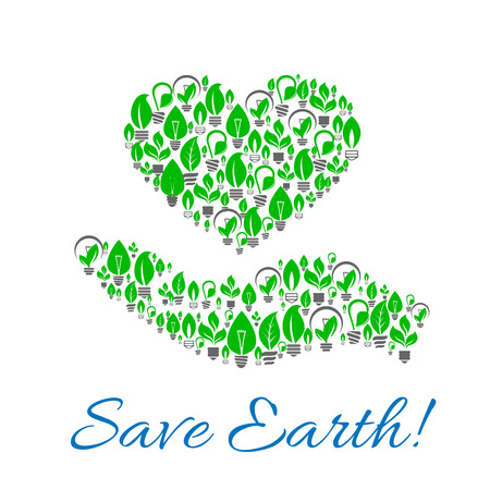 green power: Save earth poster of hand with heart made up of energy saving light bulbs with green leaves. Ecology, green energy, power saving themes design Illustration