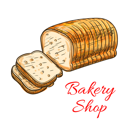 crisp: Wheat bread sketch. Fresh loaf of sliced whole grain bread for bakery and pastry shop menu, food packaging design Illustration