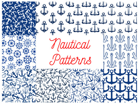water transportation: Blue nautical seamless patterns with set of marine ship anchor with rope and chain, retro wooden helm and steering wheel. Water transportation and travel themes design