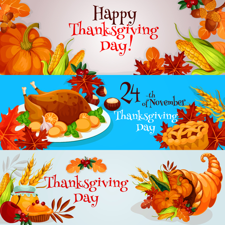 horn of plenty: Happy Thanksgiving Day banners, posters, greeting, invitation cards set. Traditional thanksgiving design with table plenty of food, roasted turkey, cornucopia harvest horn, pumpkins and vegetables on background with oak and maple leaves