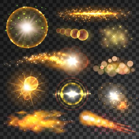 Transparent light effects and lens flares. Glowing yellow light explosion, starburst, glittering sparkles, shooting star and shining comet. Festive invitation, space themes or art design