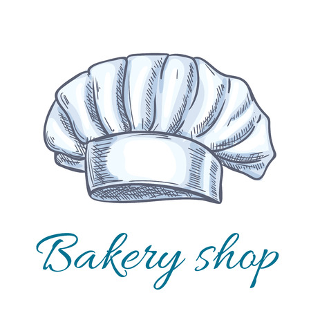 cook cap: Chef hat isolated sketch. White baker toque or cook cap with lush pleated body. Bakery shop symbol, restaurant menu design Illustration