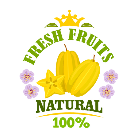 yellow star: Starfruit isolated emblem. Tropical yellow carambola fruit with star shaped slice, framed by flowers and header Fresh Fruits with crown on the top. Organic farming and food design