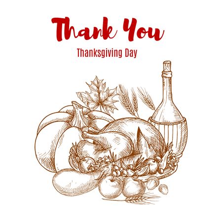 abundance: Thanksgiving autumn harvest sketch decoration. Thank You greeting card vector sketch design. Seasonal food abundance of vegetables crop, wine pitcher, roasted turkey meal. Thanksgiving traditional invitation