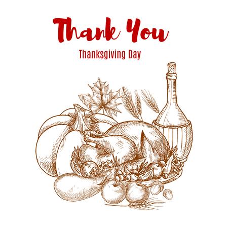 crop harvest: Thanksgiving autumn harvest sketch decoration. Thank You greeting card vector sketch design. Seasonal food abundance of vegetables crop, wine pitcher, roasted turkey meal. Thanksgiving traditional invitation