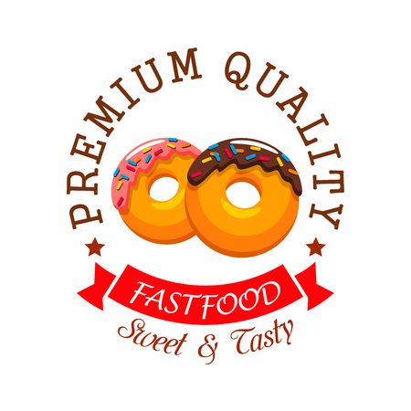 topped: Donut shop or fast food cafe emblem. Bakery icon of sweet doughnut, topped with chocolate and fruit glaze with sprinkles, encircled by ribbon banner and stars