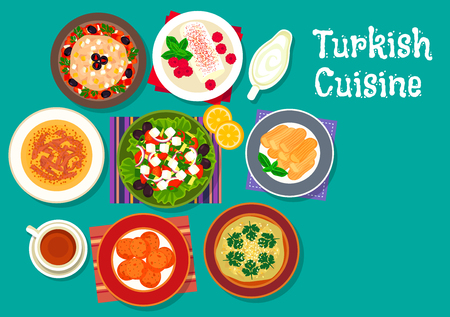 Turkish cuisine icon with grilled eggplant salad, lamb soup, fried carrot balls, eggplant dip sauce, vegetable salad with feta, sweet chicken pudding and fried cakes with syrup